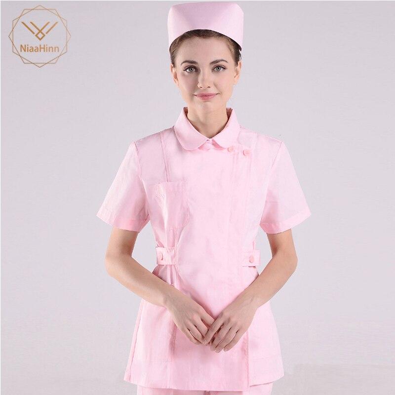 Rosa Laboratorio Cappotto Medico Abbigliamento Infermiera Ospedale Scienziato School Fancy Dress Costume Per Gli Adulti Di Usura Del Lavoro Uniforme Delle Donne Scrub Set