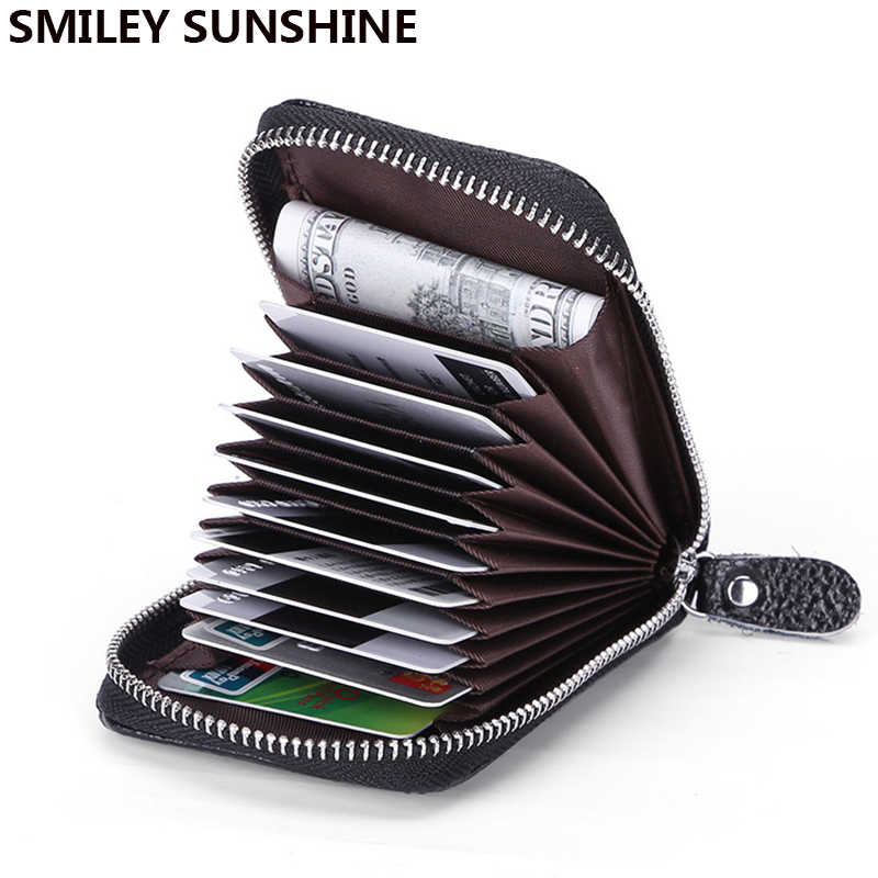 Smiley/Sunshine portatarjetas de cuero genuino Rfid WalleBusiness Bank Card Case tarjetero y portatarjetas porte carte