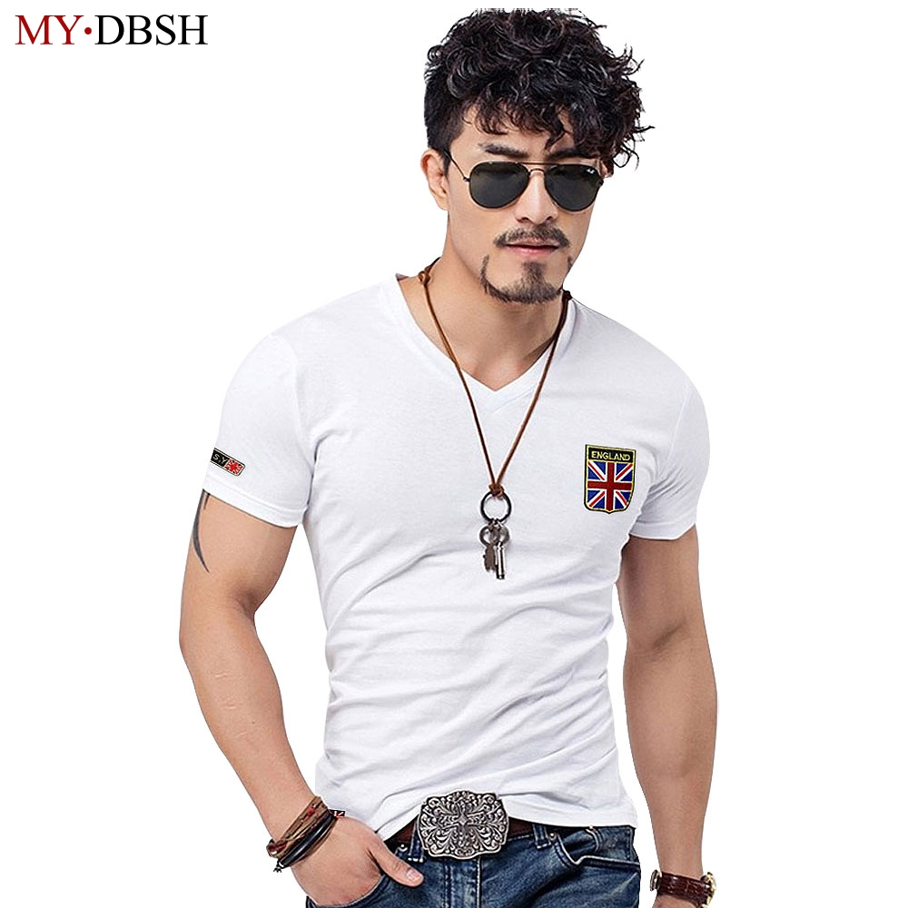 2018 Haigh Quality Embroidery V Neck Men's T shirts Fashion Casual British Style Men Shirts Cotton For Man Tee Tops Big Size 5XL