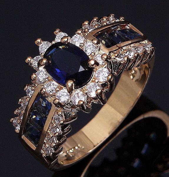 SuoHuan Größe 6-12 Tops Weibliche Ringe Für Frauen Blau Zirkonia - Modeschmuck