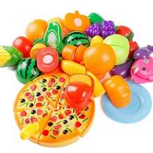 Partihandel 24st / set Kid Kök Leksaker Rolig Skärande Frukt Grönsaker Leksaker Leksaker Färgglada Leksaker för Kids Play House