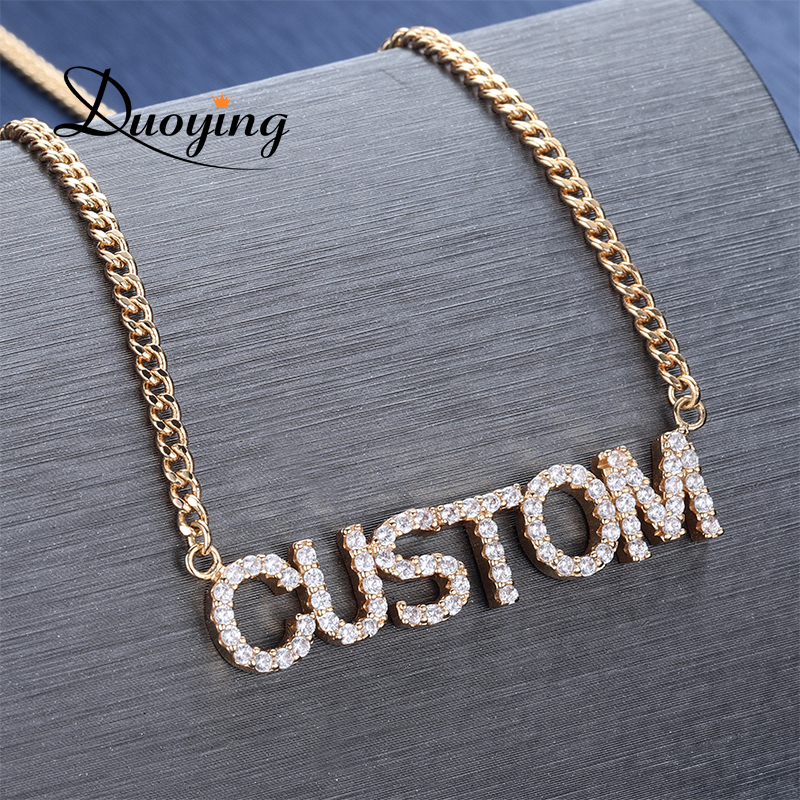 Duoying Full Crystal Personalized Name Necklace with Zircon stone Custom Nameplate Chains Choker Necklace for Women NLK90
