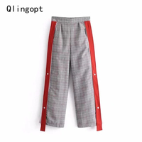 Qlingopt pantalón de pierna ancha mujeres pantalones de cremallera lateral patchwork rojo cuadrícula imprimir harem encuadre de cuerpo entero pantalones pantalon femme invierno