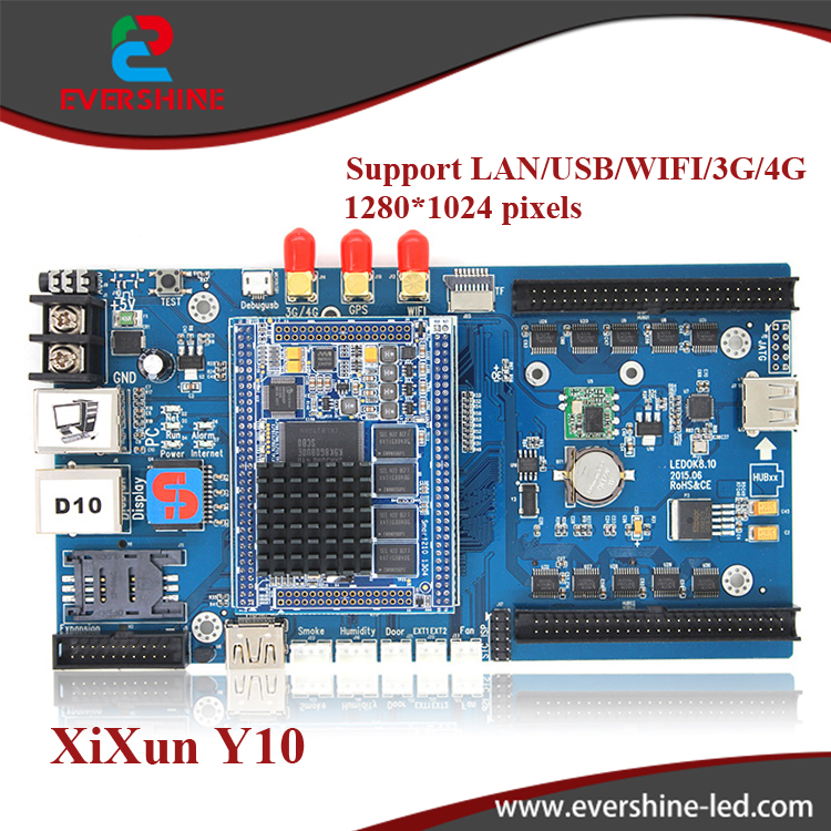 XIXUN Y10 Andriod full color led sending control card support LAN/USB/WIFI/3G/4G, support control area 1280*1024 pixels fk cx5 rj45 netwok and usb led control card 2408 48pixels support single