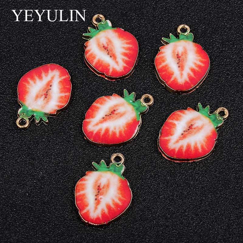 Terciopelo Gargantilla Collar Colgante de fresa fruta encanto regalo 5mm