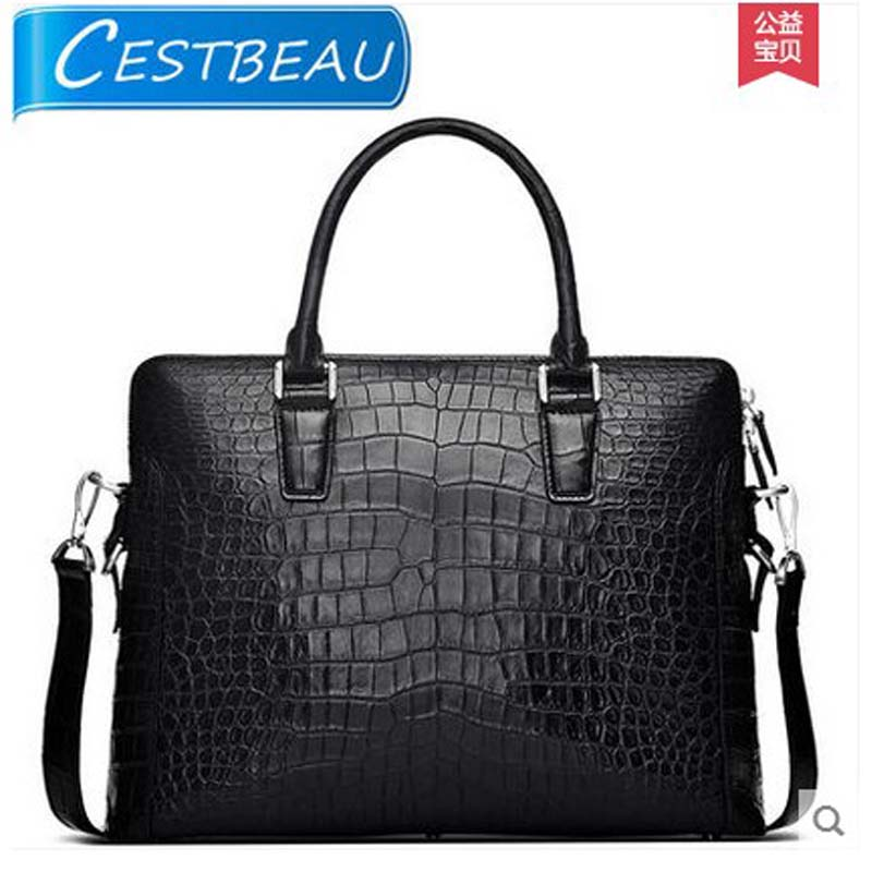 Cestbeau new  men business document bag men package crocodile skin alligator skin  high end area skin men handbag