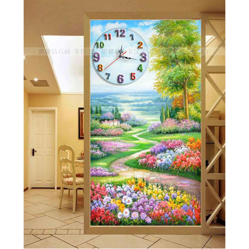 The Corridor Diamond Full Square Drill Cross-stitch Clock Porch Flowers Path Scenic Diamond Mosaic Painting Wall Clocks