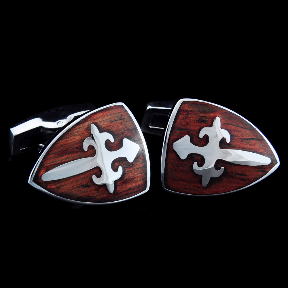 SPARTA Stainless steel + Mahogany Cuffliks Knight Shield men's Cuff Links + Free Shipping !!! metal buttons