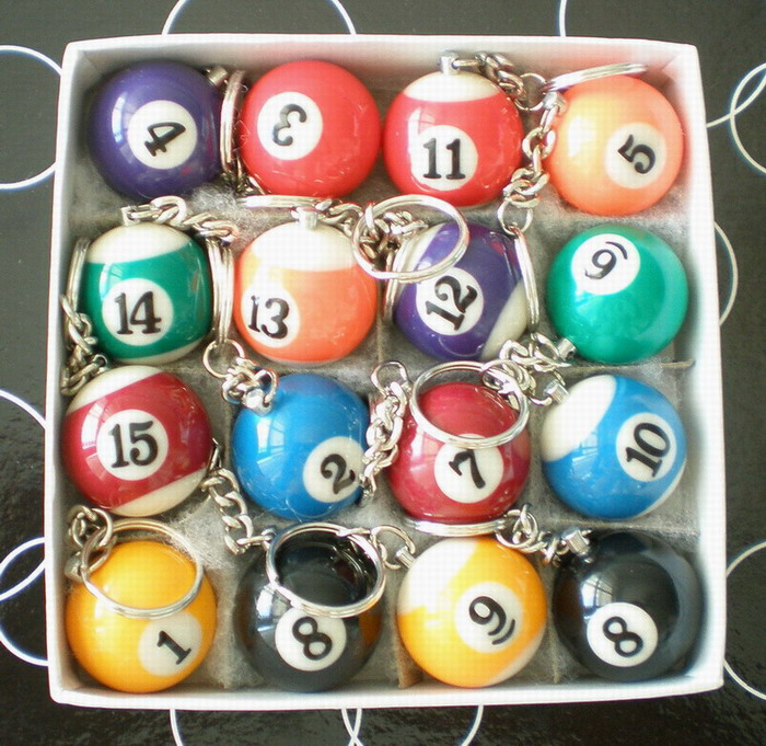Free shipping 16pcs/lot Pool Billiard snooker table ball keychain keyring 1