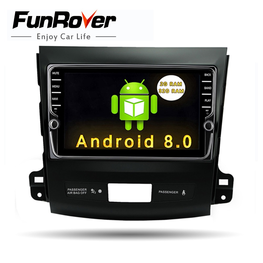 Funrover IPS 8 Android8.0 Voiture dvd GPS Lecteur Radio pour Mitsubishi Outlander 2008-2014 Peugeot 4007 Citroen C -Crosser 2din radio