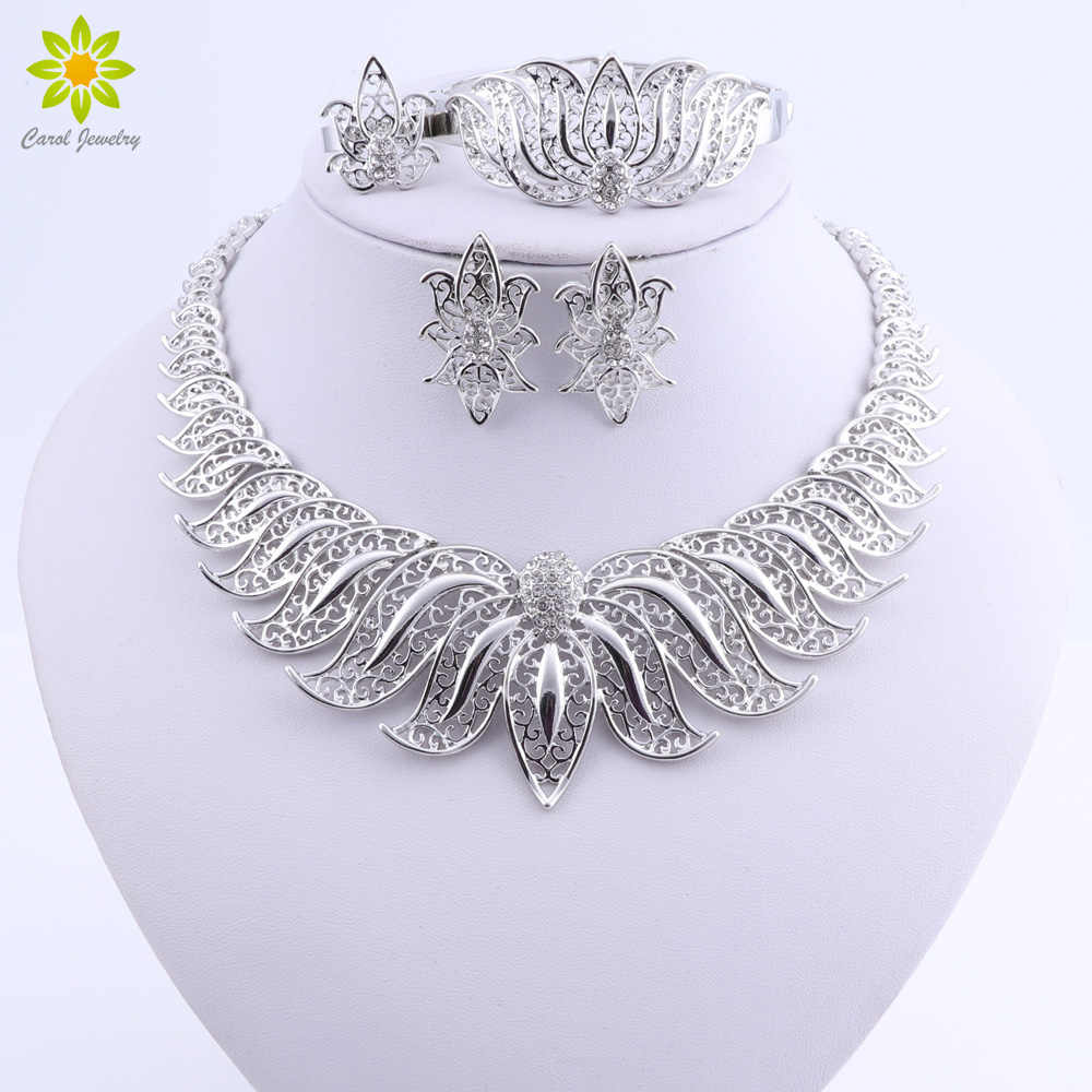 African Beads Jewelry Set Silver Plated Wedding Jewelry Sets For Brides Crystal Necklace Earrings Costume Jewelry Set