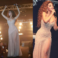 Red Carpet Celebrity Dresses 2016 Arabic Myriam Fares Full Beaded Side Slit Ivory Celebrity Dresses Vestidos De Novia Prom Dress