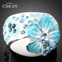 Chran Classic Brand Jewelry Enamel Flower Wedding Rings for Women Fashion Rhodium Plated Crystal Finger Valentines Gift