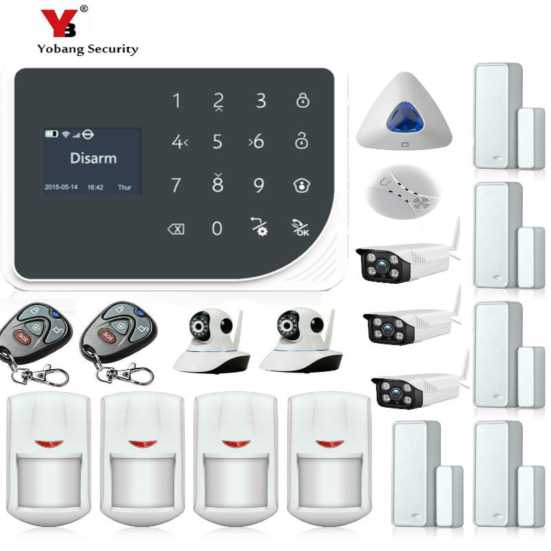 Yobang Security WIFI GSM GPRS RFID card Wireless Home Security Arm Disarm Alarm system APP Remote Control Kit SIM SMS Alarm fuers wireless home security gsm wifi sim alarm system ios android app remote control rfid card pir door sensor siren kit