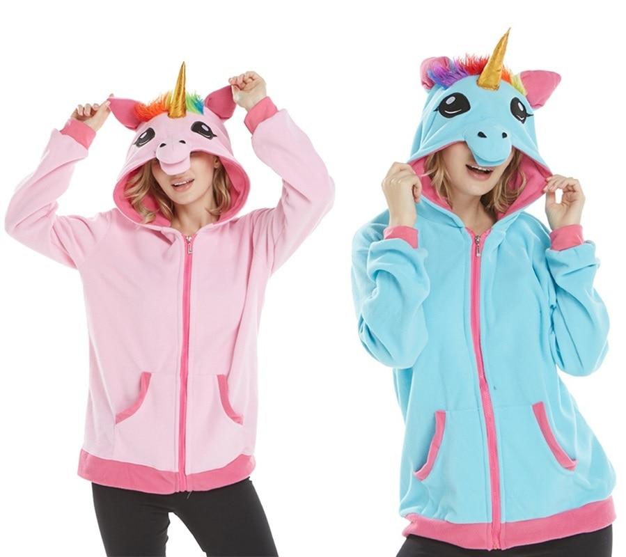 Unicorn Hoodie Novelty Kigurumi Anime Cartoon Hoodies Unicorn Sweatshirts Tracksuits Hooded Jacket Adult Animal Cosplay Costume
