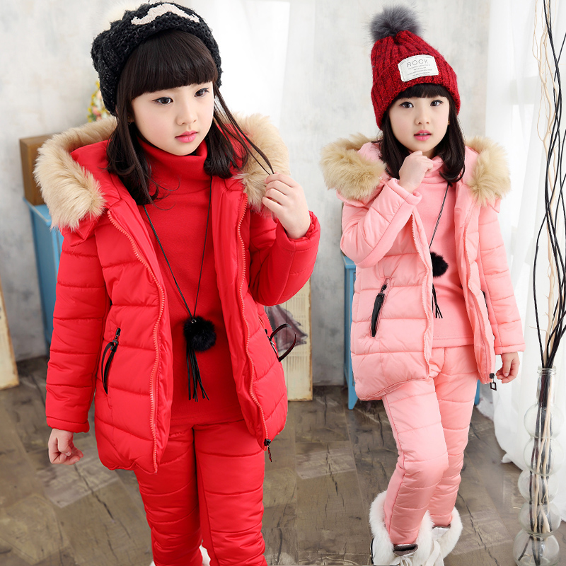 New autumn winter children clothing sets 3pcs girls winter jackets large faux fur collar hooded down jacket kids outerwear coat 2014 children s clothing baby down coat set large fur collar red male