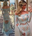 Vestido Longo De Festa Light Blue Lace Applique Evening Dress 2 Piece Prom Dresses Long Sleeve Mermaid Sexy Women Formal Dresses