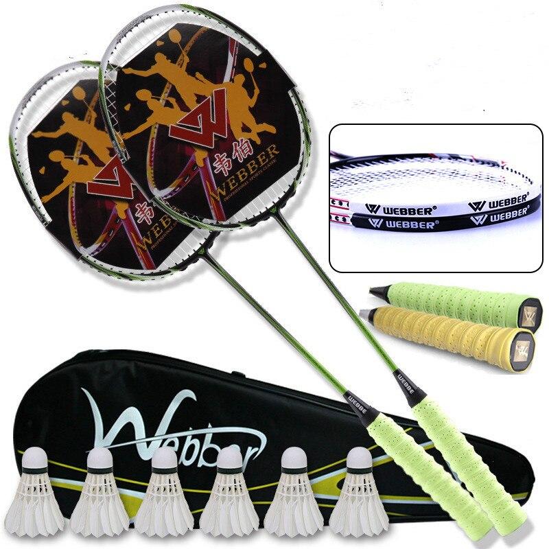 Schlägersportarten Carbon Faser Badminton Schläger Doppel Schuss Einzigen Schuss Durable Erwachsene Feder Schuss Carbon Angriff Typ Beständig Volle In Den Spezifikationen VervollstäNdigen Badminton
