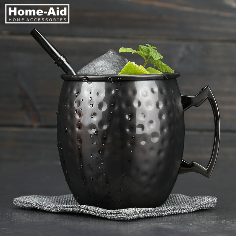 Hammered Gunmetal Plated Curved Stainless Steel Moscow Mule Mug Drum-Type Beer <font><b>Cup</b></font> <font><b>Coffe</b></font> <font><b>Cup</b></font> Water Glass Drinkware image