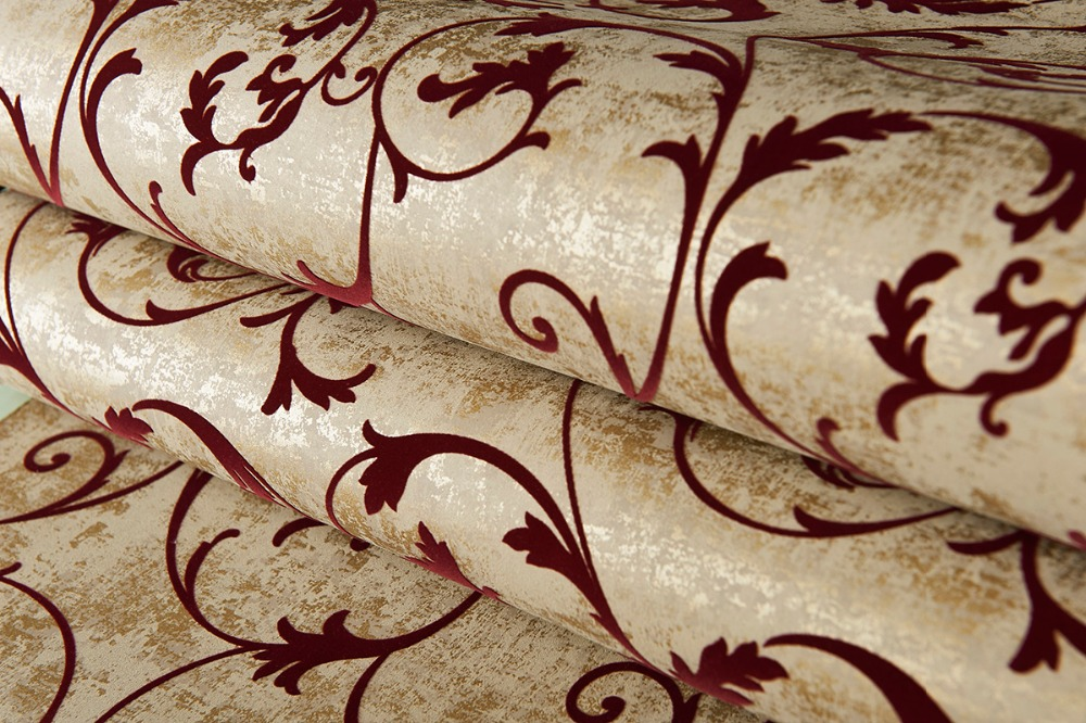 Bronze Golden Burgundy Vintage Curly Grass Velvet Flocked Wallpaper in Wallpapers from Home Improvement