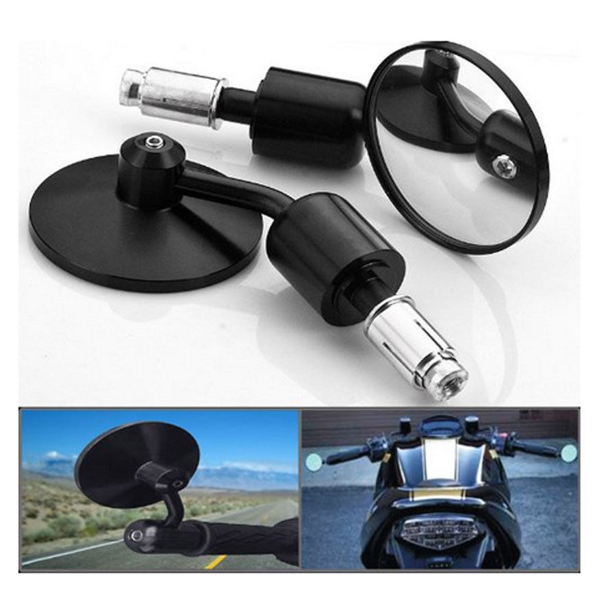 """7//8/""""Motorcycle Silver CNC Aluminum 3/"""" Side Rear View Handle Bar End Mirrors Cafe"""
