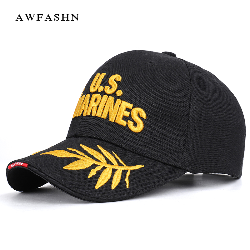 2019 New Fashion U.S MARINES Letter Embroidery   Baseball     Cap   High Quality Casual Hat Spring Man Woman Cotton Adjustable Bone Male