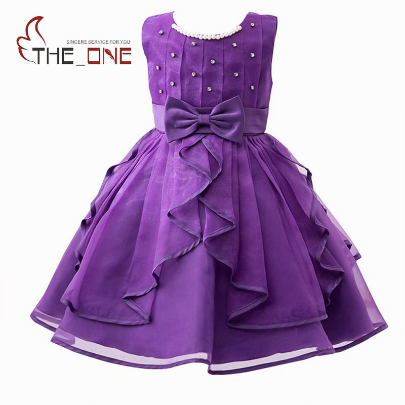 Girls Bow Belt Lace Princess Party Dress Girl Summer Wedding Dress Children Beadings Evening Dresses with Pearl Necklace T142 summer girls evening dress 2016 children costume clothes kids chiffon princess dresses baby girl party dress with pearl necklace