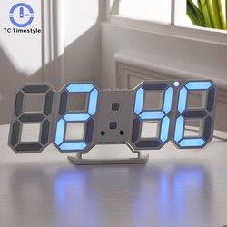 3D LED Digital Wall Clock Display Alarm Clocks Kitchen Office Table Desktop Wall Watch Modern Design 24 Or 12 Hour Display
