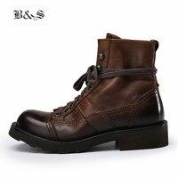 Черные и уличные ботинки высокого качества ручной работы тяжелая промышленность Винтаж коровья кожа инструмент мотоциклетные ботинки martin