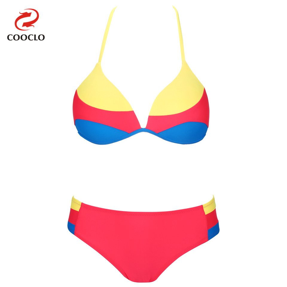 ③COOCLO Hot Sexy Swimwear Micro Bikini 2018 Patchwork Print Straps ...