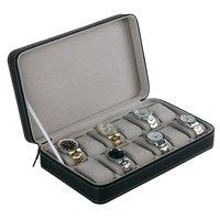 12 Slots Watch Box Storage PU Leather Organizer With Zipper Simple Style Multi functional Bracelet Display Casket