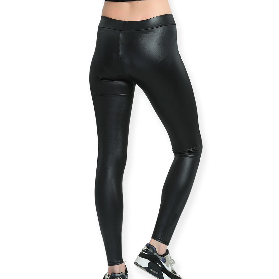 Pitidrogo Mid Waist Yoga Pants Tummy Control Workout Pants for Women Faux Leather Yoga Leggings PD42175 in Yoga Pants from Sports Entertainment