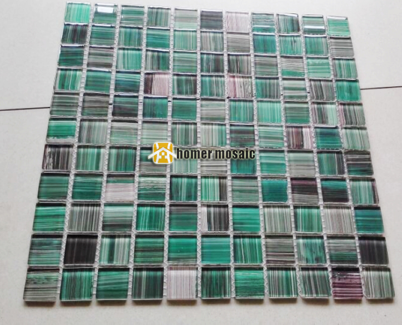 green black hand painted DIY crystal glass mosaic tiles HMGM1157B ...