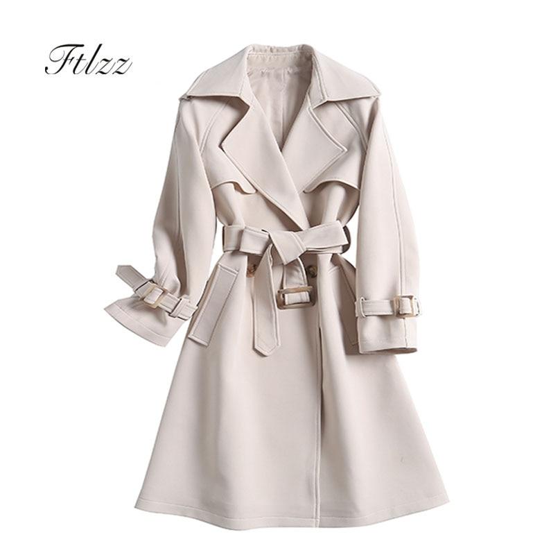 New Spring Autumn Medium Long Windbreaker Fashion Women With Belt Slim Elegant   Trench   Coat Ladies Single Button Korean Outerwear