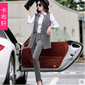 Fashion Suit Women New Slim shirt + Vest + Little feet pants  Three-piece High quality linen material Suit Ladies' AA8531
