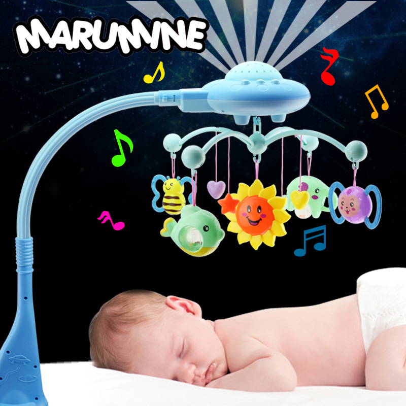 Marumine Baby Crib Mobile Toy With Light Projection & 50 Music Bed Bell Holder For 0-12 Months Newborn Infant Boys Girls