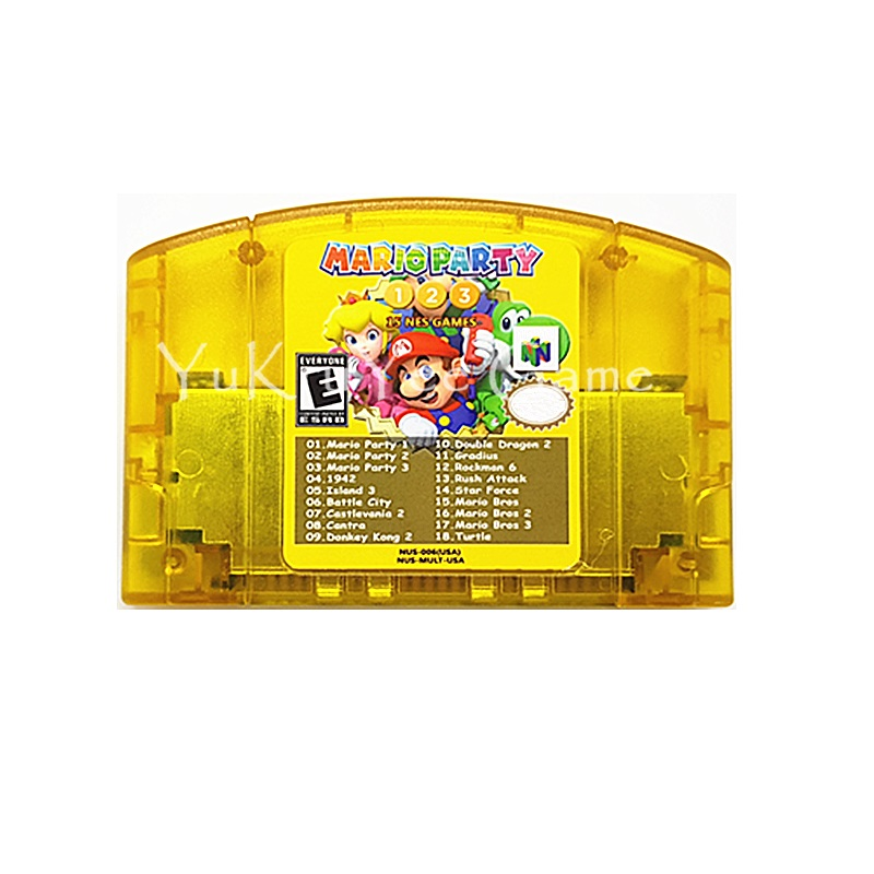 Super 18 in 1 Video Game Cartridge Card for 64 Bit Console System English Language US NTSC Version marioed party 1 2 3 ntsc english version 64 bit game console cartridge