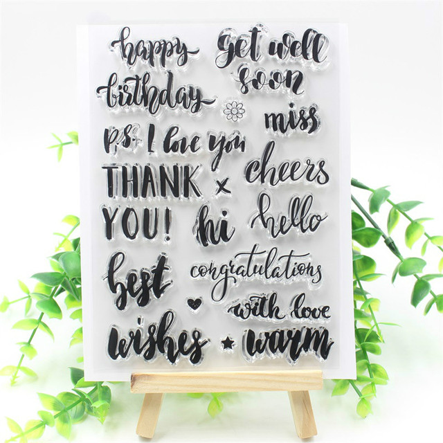 KSCRAFT Happy Birthday Transparent Clear Silicone Stamp/Seal for DIY scrapbooking/photo album Decorative clear stamp 432