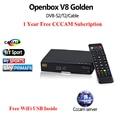 Receptor de Satélite Openbox V8 de Oro + 1 Año CCcam DVB-S2 + DVB-C Receptor T2 Soporte Full PowerVu DRE Biss clave y WEB TV IPTV combo
