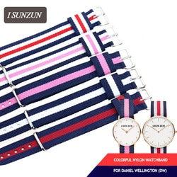 ISUNZUN Top Brand 13MM 17MM 18MM Nylon Watchband Mental Buckle Watch Strap for Daniel Wellington/DW Bracelet Relogio Feminino