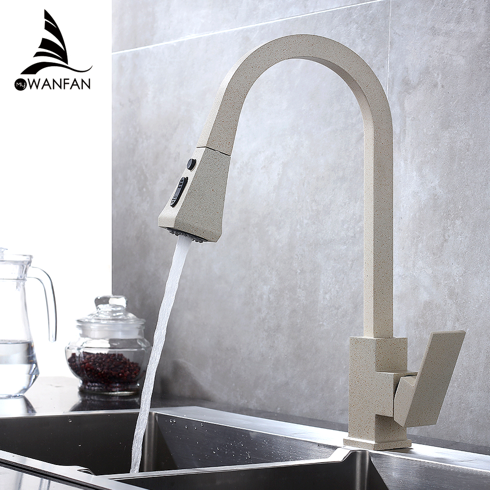 Kitchen Faucet Pull Out 360 Rotate Black Mixer Faucet For Kitchen Rubber Design Hot And Cold Deck Mounted Crane For Sinks 866399
