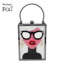 Boutique de fgg moda feminina totes bolsas branco acrílico noite bolsa óculos meninas corrente embreagem festa do vintage crossbody saco