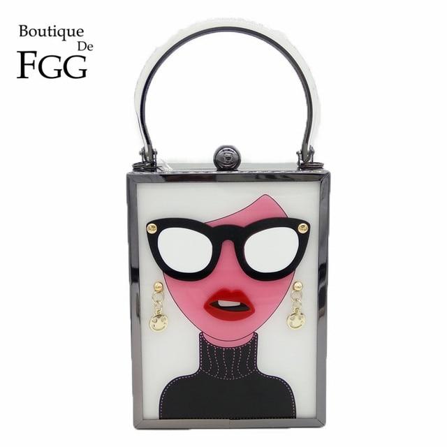 Butik De FGG kadın moda tote çanta beyaz akrilik akşam çanta gözlük kızlar zincir debriyaj Vintage parti Crossbody çanta
