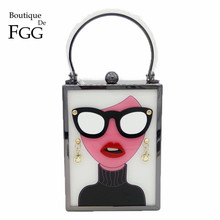 ブティックデfgg女性ファッショントートハンドバッグホワイトアクリルイブニング財布メガネ女の子チェーンクラッチヴィンテージパーティークロスボディバッグ