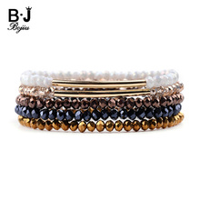 BOJIU 5 Pcs/Set Trendy Crystal Bracelets For Women Elastic Copper Tube Natural Blue Gold White Brown Bracelet BCSET222
