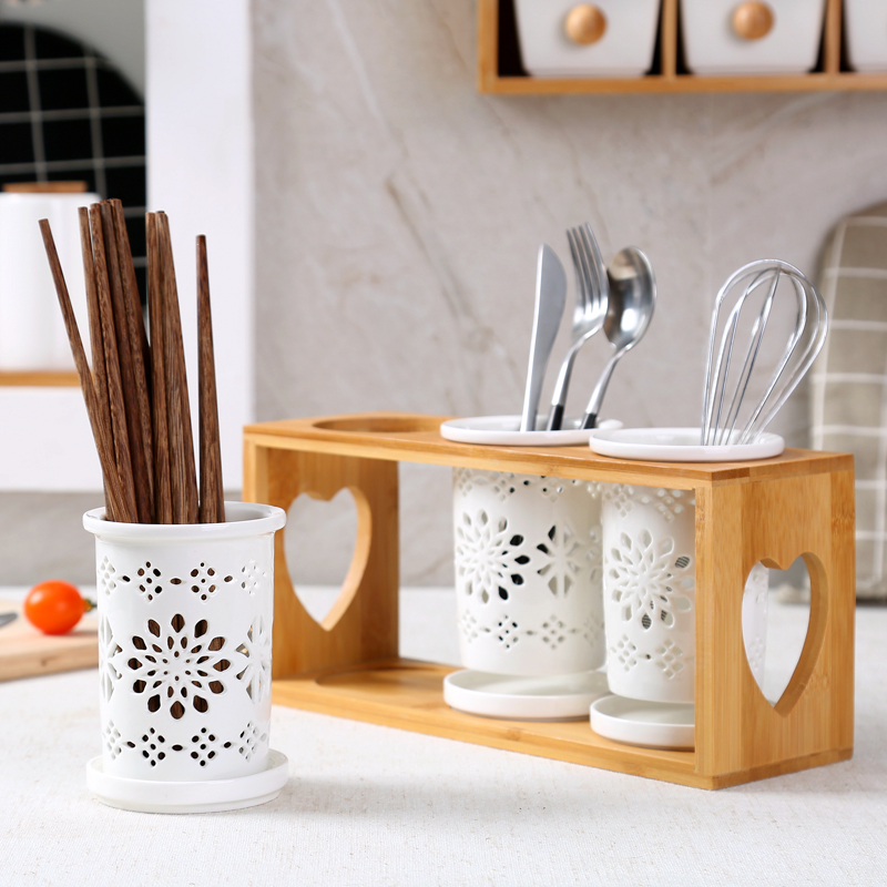 Ceramic chopstick holder Japanese style chopsticks barrel three drain rack Creative chopsticks cage Hollow Wooden Chopsticks