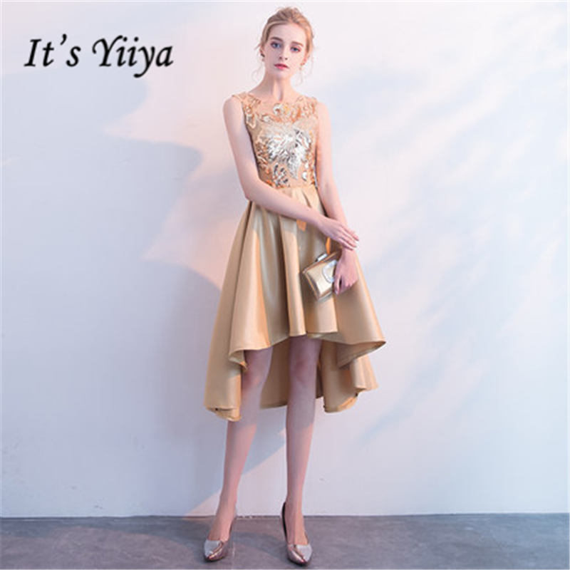It's YiiYa   Cocktail     Dresses   Elegant O-neck Sequined Knee Length Party Gowns Royal Champagne Zipper Back Formal   Dress   E406
