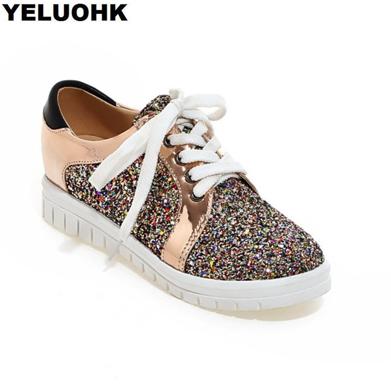 Fashion Glitter Shoes Women Flats Casual Platform Shoes Woman Lace Up Oxford Shoes Fr Women Creepers gladiator sandals 2017 fock women summer comfort flats fashion creepers platform casual shoes woman 2 colors