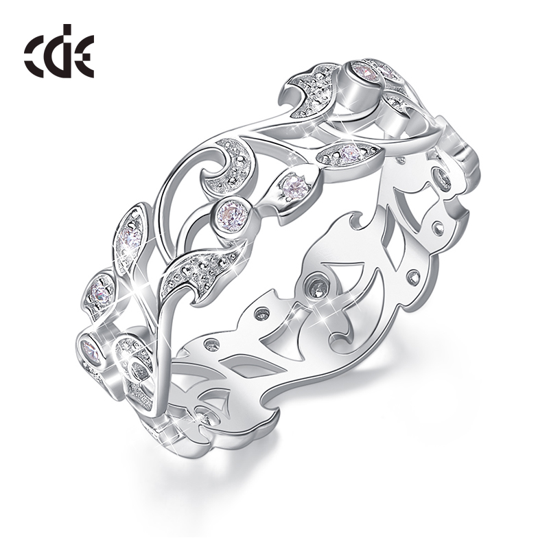 CDE 925 Sterling Silver 5mm Wide Ring Secret Garden Geometric Ring With Cubic Zirconia For Women Wedding Engagement Jewelry