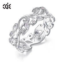 CDE 925 Sterling Silver 5mm Wide Ring Secret Garden Geometric Ring with Cubic Zirconia for Women Wedding Engagement Jewelry(China)